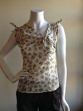Paul Smith SZ 4 Cotton Beige Floral PrintKnotted Cap Sleeve Top NWOT $290