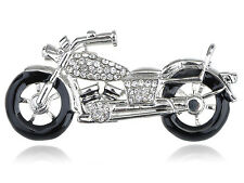 Silver Harley Crystal Rhinestone Biker Motorcycle Racer Fun Pin Brooch Jewelry