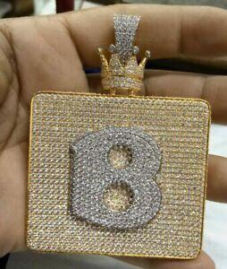 B Top Up With Crown Bail Custom Pendant Genuine Silver Diamond Pendant