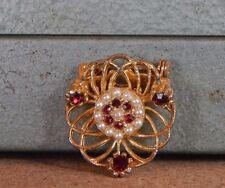 Costume Jewellery Brooch Circular Pierced Red Glass Faux Pearls 2.5cm