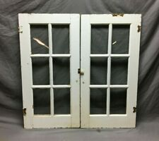 Antique Pair 6 Lite 18x36 Cabinet Bookcase Doors Shabby Vtg Chic Old 1060-20B