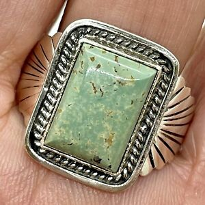 Navajo Natural Kingman Turquoise Men's Ring sz11 Danny Kenneth Fred Harvey Style