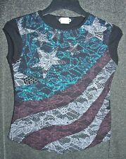 Vtg 90s black glittery top with red white & blue stars & stripes lace look print