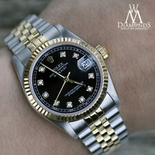 Classic 2 Tone Rolex 31mm Datejust Black Face Diamond Accent Jubilee Bracelet