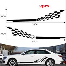 2x Racing Sport Checkered Flag Vinyl Decal Door Side Skirt Car Body DIY Sticker