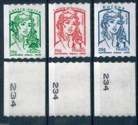 MARIANNE & LA JEUNESSE TIMBRES ADHÉSIFS ROULETTE SÉRIE 862-863-864