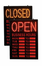 "Open Closed Led Sign With Hours 16"" x 23"" Retail Business Illuminated Lighted"