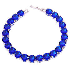 "Silver Tanzanite Women Jewelry Gift Gemstone Chain Bracelet 7 7/8"" NS1334"