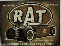 Rat Rod Hot Rod Custom Garage Auto Shop Street Car Parts Picture Poster Tin Sign