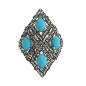 HSN Sleeping Beauty Turquoise And .36Ct Diamond Sterling Dream Ring Size 8