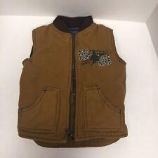Cowboy Hardware Youth Boys Brown-Camel/Canvas Zip Vest Sz 2T/Ride Hard-Live Hard