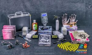 UK Tattoo Kit Sets full Power supply professional MACHINE 4 Guns Best USA INK PR