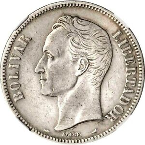 1901 Venezuela 5 Bolivares, NGC VF Details - Cleaned, KM Y24.2, Very Scarce Date