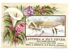 1890s Asthma & Hay Fever cure book trade card, L A Knight Co., Cincinnati Ohio