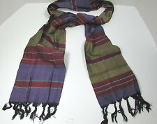 Vintage Multi Color Plaid Long  Scarf  9 X 63