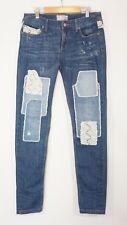 Free People Skinny Jeans womens 27 Crochet Lace Patchwork Boho Denim EUC