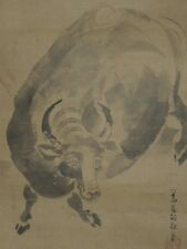 Hanging Scroll Japanese Painting Cattle �� 尾形 Cow rat Old Picture Japan Ink k90