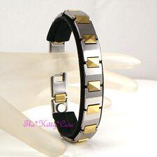 Magnetic Tungsten CTS Arthritis Energy Unisex 2tone 24K Gold Pl Rhodium Bracelet