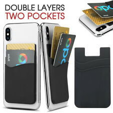 Silicone Mobile Phone Back Double Layers Card Holder Wallet 3M Stick On Adhesive