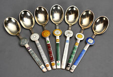 7 Modernist Zodiac Spoons Sterling Enamel A. Michelsen Denmark Paul Rene Gaugin