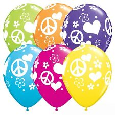 Party Supplies Birthday Hippy 60's Retro Peace Signs & Hearts Balloons Pk10