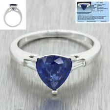 Vintage Estate Platinum Natural Trillion Cut Sapphire Diamomd Engagement Ring