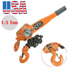 Chain Lever Block Hoist Come Along Ratchet Lift 1.5 Ton 5ft 3000lb Capacity Fast