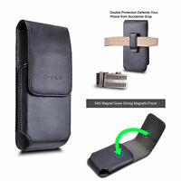 Motorola Moto G6 Play, G6 2018, G6 Forge Leather Belt Clip Holster Pouch Cover v