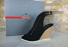 lujo PRADA Gr 38.5 Sandalias Tacón De Cuña Zapatos Gabardina Sisal negro