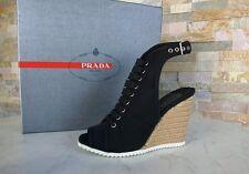 Prada Gr 38,5 Sandalias Tacón de Cuña Zapatos Gabardina Sisal Negro Antiguo
