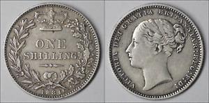 1881 Great Britain Shilling Victoria Silver KM# 734.4 Very Fine (KJ25)