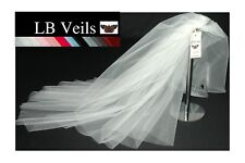 Ivory Veil Fingertip Length Wedding 2 Tier Hip Long Plain LBV156 LB Veils UK