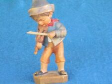 """Anri Hand Carved Wooden 3 1/2"""" Figurine - Boy with Toy Violin"""
