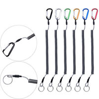 Retractable Camping Steel Wire Spring Rope Carabiner Lanyard Fishing String