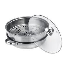 New Listing2 Tier Stainless Steel Steamer Hot Steam Pot Set Kitchen Food Cookware Cooker M