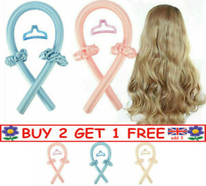 Women Girls Silk Ribbon Hair Curler Heatless Curling Rod Headband Wave Former F