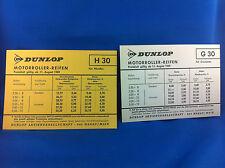 2 Dunlop prezzo fogli 1969 h30 g30 Scooter Pneumatici RIVENDITORI GROSSISTI come nuovo