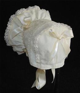 New Handmade Ivory with Wide Lace Body Baby Bonnet