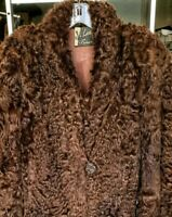 Mens Womans Fur Curly Lamb Jacket Coat Vintage Satin Lining Pockets Mahogany WOW