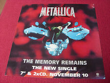"""Metallica:  The Memory Remains  12"""" X 12""""  2 sided Promotional Advertising Card"""