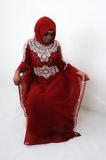 **Dubai Style Kaftan Abaya Farasha Jalabiya Maxi Dress, Maroon**