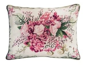 """Pink Floral Fusion #2 Wool Needlepoint Pillow w Velvet Back 16"""" x 20"""""""