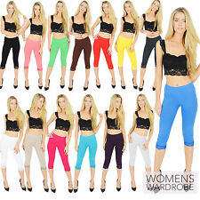 Womens Cropped Cotton Leggings With Lace 3/4 Length V1