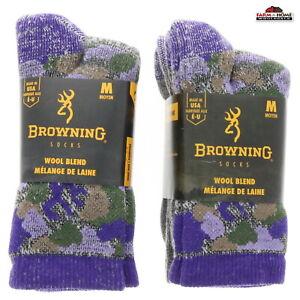 4 Pairs Crew Socks Purple Camo Medium ~ New