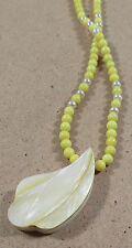 "Vintage Karla Jordan Yellow Quartzite Carved Pearl Pendant Necklace 19"" Long"