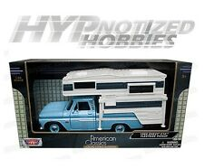 MOTOR MAX 1:24 1960 CHEVY C10 PICKUP WITH HOUSE TRAILER DIE-CAST BLUE 75355