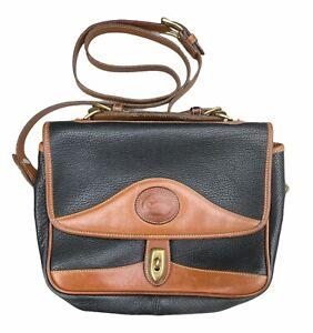 Vintage Dooney and Bourke R701 Carrier Shoulder Bag   Pebbled Leather Black Tan
