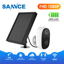 SANNCE 1080P WiFi IP Security Camera Wireless PIR CCTV System with Solar Panel