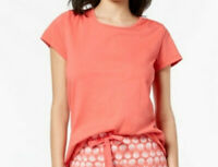 Charter Club Women's Knit Cotton Short-Sleeve Pajama Top, Peony Coral