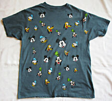 Disney Mickey Mouse & Friends faces T shirt tee distressed print men's L blue